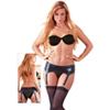 Black wetlook suspender belt