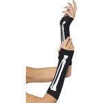 Vingerloze Handschoenen Met Skeletprint - Zwart