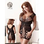 Zwart mini jurkje met decoratief patroon