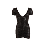 Mini-jurk met plooitjes - zwart