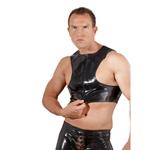 Heren Topje in Latex Look Zwart