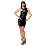 Zwarte korte jurk wetlook