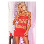 Rood jurkje met onthullende uitsparingen