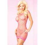 Sexy kort net jurkje - Roze