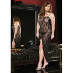 Lange kanten jurk - Zwart
