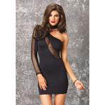 Zwart jurkje met netinzet