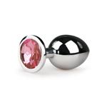 Metalen buttplug met roze kristal - zilverkleurig