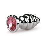 Zilverkleurige Geribbelde Buttplug Met Roze Kristal