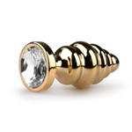 Metalen buttplug met heldere steen - goudkleurig