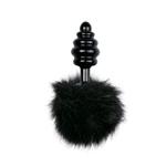 Zwarte Buttplug met zwarte konijnenstaart