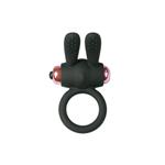 Siliconen Bunny Ring Met Bullet - Zwart/Roze
