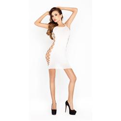 Wit mini jurkje met open zijkanten
