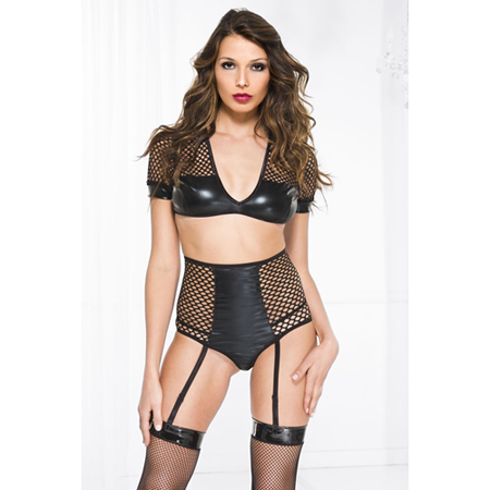 Wetlook Jarretelset Met Crop Top
