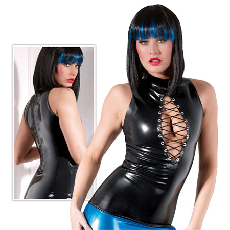 Zwarte latex top