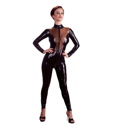 Latex Catsuit Zwart