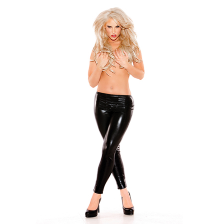 Wetlook Legging Kitten Zwart