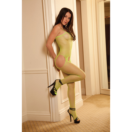 Felgekleurde bodystocking - Lime