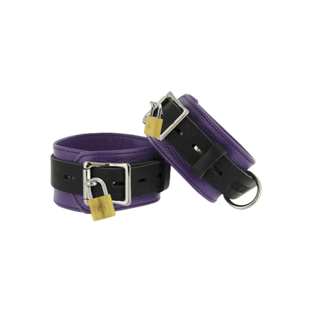 Purple and Black Deluxe Locking Cuffs