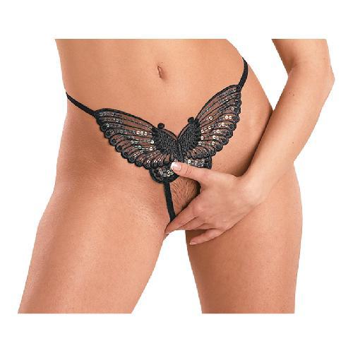 Sensuele zwarte vlinderstring