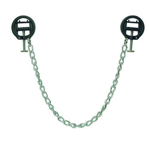 Twee zwarte, ronde nippel schroefklemmen verbonden met een 33 cm lange vederlichte metalen ketting.