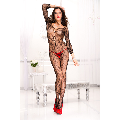 Elegante Catsuit Met Lange Mouwen – Zwart Zwart – Music Legs