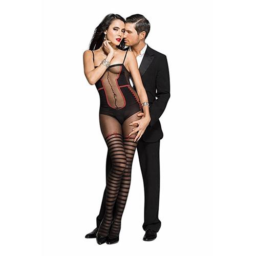 Catsuit Met Body En Kousen Design – Zwart/Rood Zwart – Music Legs