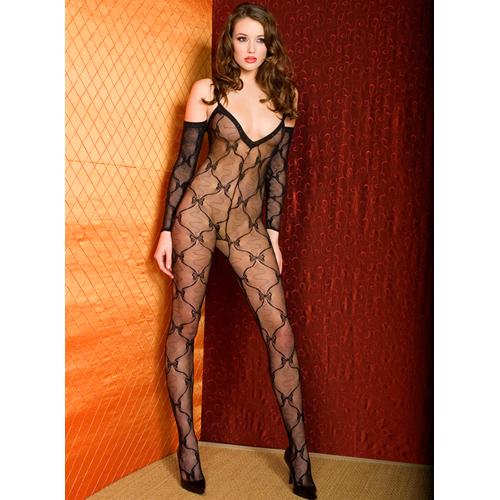 Netstof Catsuit Met Strikjes Design En Mouwen – Zwart Zwart – Music Legs