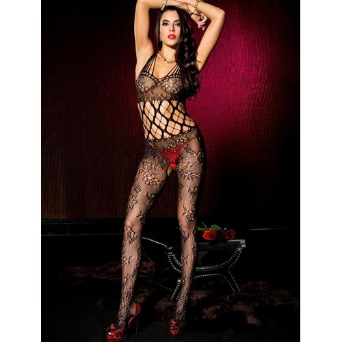 Kruisloze Kanten Catsuit Met Bloemendesign – Zwart Zwart – Music Legs