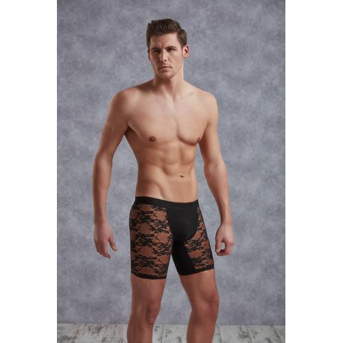 Lange Netstof Boxer Met Bloemenpatroon - Zwart