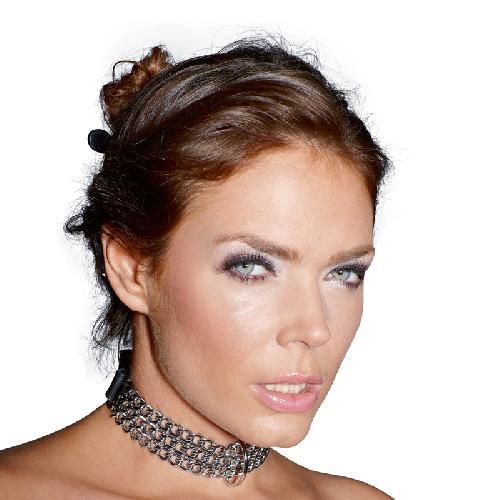 Leren halsband met kettingen Zwart – Zado