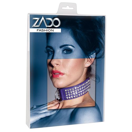 Halsband Van Leer Met Strassteentjes - paars