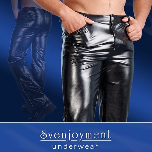 Zwarte imitatieleren broek Zwart – Svenjoyment Underwear