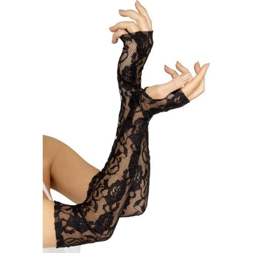 Zwarte vingerloze kanten handschoenen Zwart – Fever