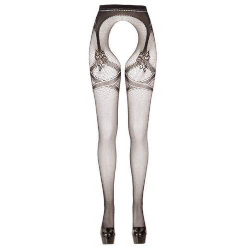 Kruisloze Panty Met Grote Opening - Zwart