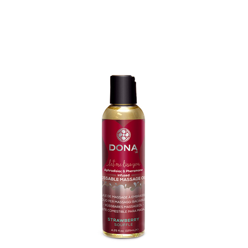 Dona Kissable Massage olie aardbei Transparant – Dona-by-Jo
