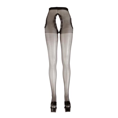 Zwarte kruisloze panty met kanten randen Zwart – Cottelli Collection