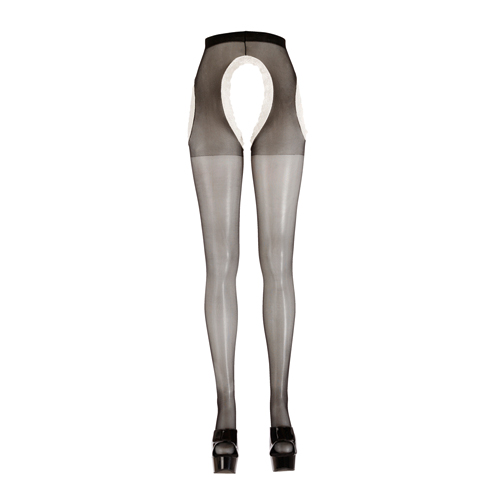 Zwart witte kruisloze panty Zwart – Cottelli Collection