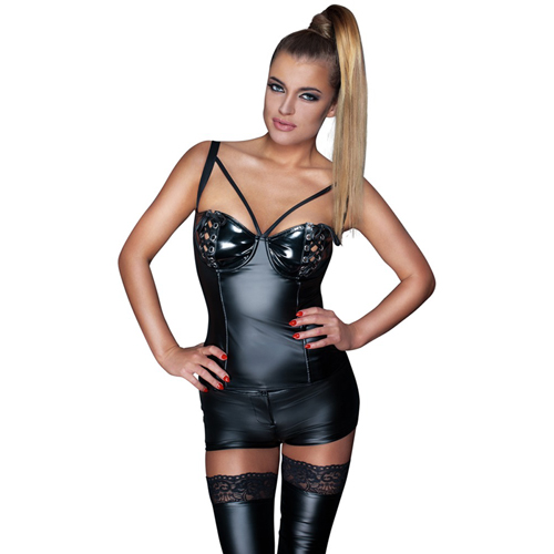 Wetlook Top Met Lak Cups Zwart – Noir Handmade