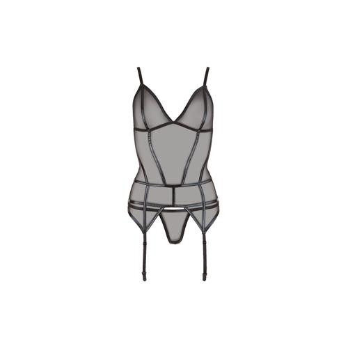 Transparente Jarreteltop Met Wetlook Details - Zwart