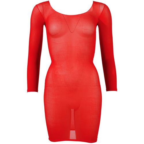 Nylon rood mini jurkje