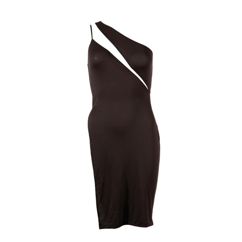 One shoulder jurk - zwart
