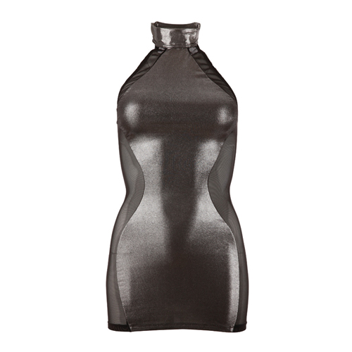 Glimmende en transparante mini jurk – Zilver Zwart – Red Corner