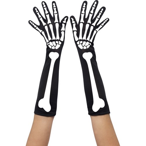 Lange Handschoenen Met Skeletprint - Zwart