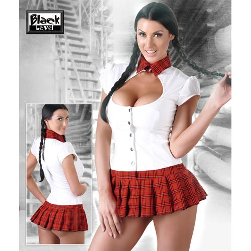 Schoolmeisje Kostuum - Rood/Wit