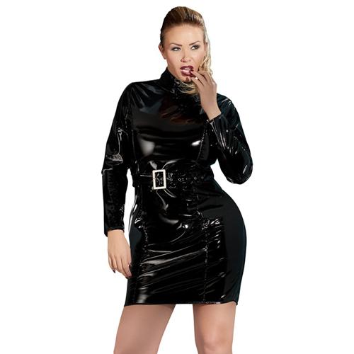 Lak Mini Jurkje Met Riem En Lange Mouwen Zwart – Black Level