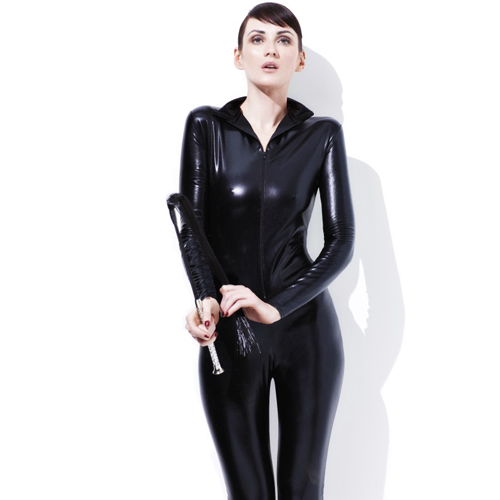 Fever zwarte wetlook catsuit