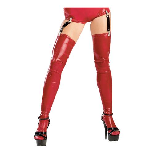 Latex kousen in het rood