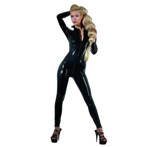 Latex Catsuit Met Ritsen Zwart – The Latex Collection