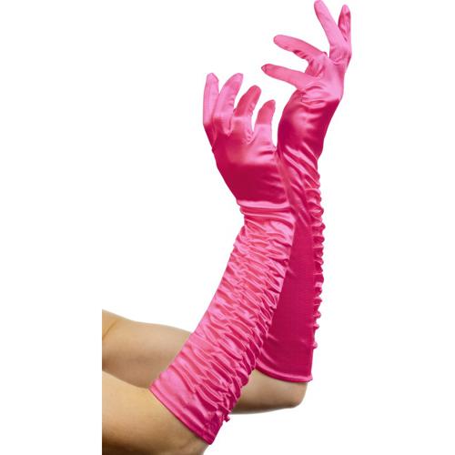 Lange glanzende handschoenen - Roze