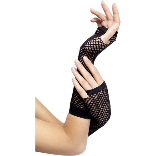 Zwarte visnet handschoenen Zwart – Fever